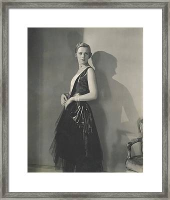 Muriel Finley Wearing A Dress By Frances Clyne Framed Print