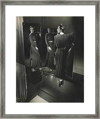 Muriel Maxwell In A Dress By Rose Amado Framed Print