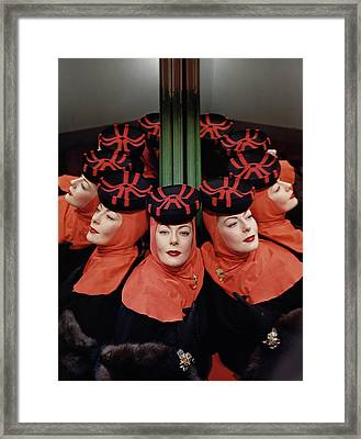 Muriel Maxwell Reflected Around A Column Framed Print by Horst P. Horst