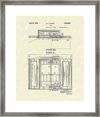Murphy Bed 1932 Patent Art Framed Print