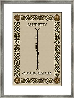 Framed Print featuring the digital art Murphy Written In Ogham by Ireland Calling