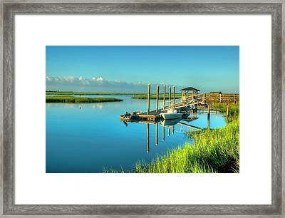 Framed Print featuring the photograph Murrells Inlet Dock by Ed Roberts