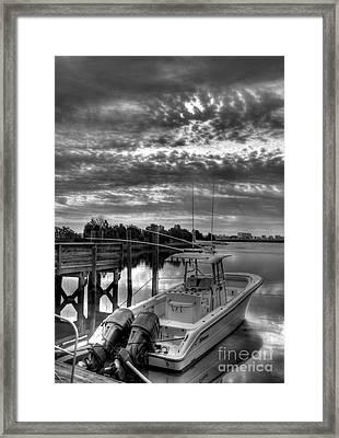 Murrells Inlet Morning 4 Bw Framed Print by Mel Steinhauer
