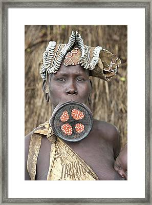 Mursi Woman With Lip Plate Framed Print by Tony Camacho