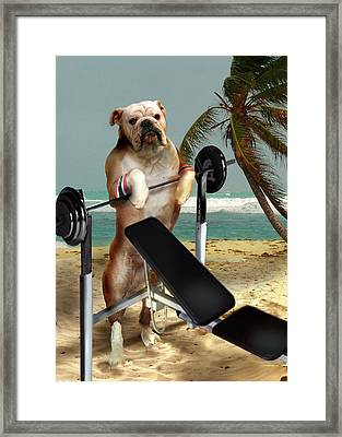 Muscle Boy Boxer Lifting Weights Framed Print