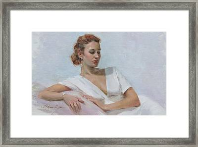 Muse In White Framed Print by Anna Rose Bain