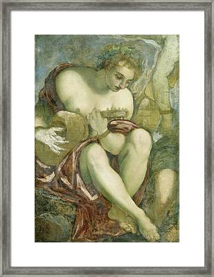 Muse With Lute, Jacopo Tintoretto Framed Print by Litz Collection
