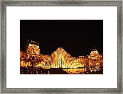 Musee Du Louvre At Night Framed Print