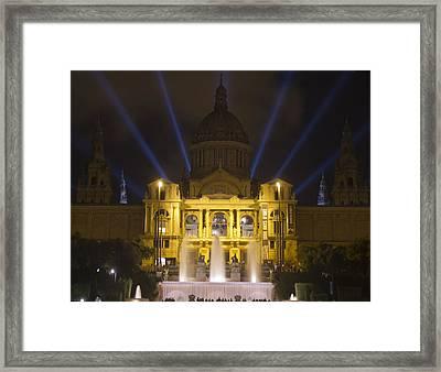 Framed Print featuring the photograph Museu Nacional D'art De Catalunya Light Show by Nathan Rupert