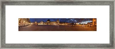 Museum At Dusk, Musee Du Louvre, Paris Framed Print