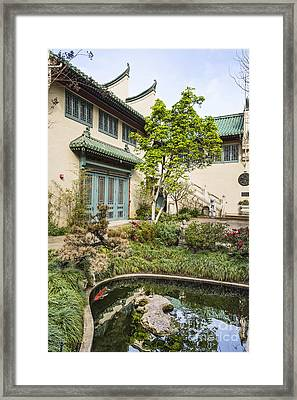 Museum Courtyard - Beautiful Courtyard Of The Pacific Asia Museum In Pasadena. Framed Print