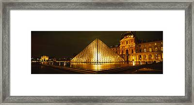 Museum Lit Up At Night, Musee Du Framed Print