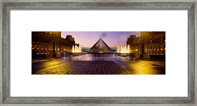 Museum Lit Up At Night With Ghosted Framed Print