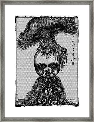 Mushroom And Girl Framed Print by Akiko Okabe