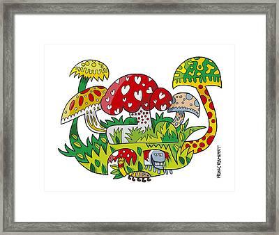 Mushroom Doodle Nature Framed Print