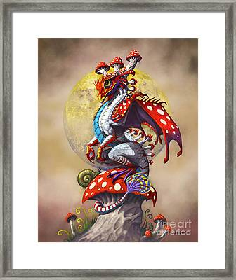 Framed Print featuring the digital art Mushroom Dragon by Stanley Morrison