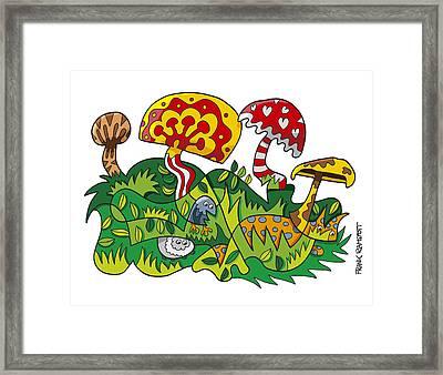 Mushroom Fantasy Doodle Framed Print by Frank Ramspott