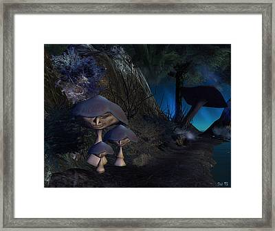 Framed Print featuring the digital art Mushroom-people by Susanne Baumann