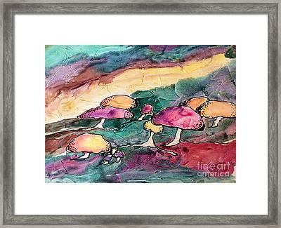 Mushrooms Framed Print by Barbara Tibbets