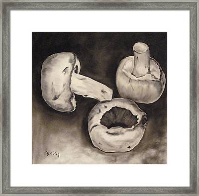 Framed Print featuring the painting Mushrooms by Donna Tuten