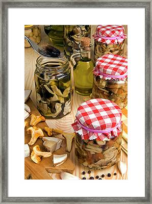 Mushrooms In Jar Preserved In Olive Oil Framed Print