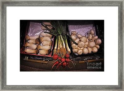 Mushrooms In The Seville Market  Framed Print by Mary Machare