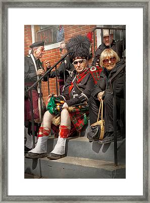 Music - Bag Pipes - Somerville Nj - Piper Resting Framed Print by Mike Savad