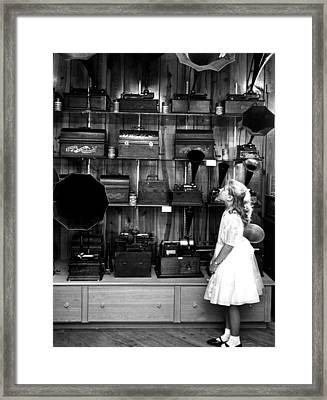Music Boxes In Store Window Framed Print by Retro Images Archive
