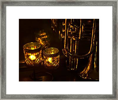 Trumpet And Candlelight Framed Print