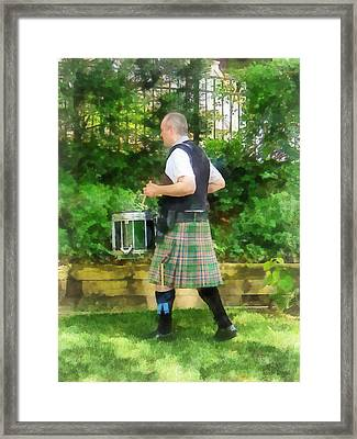 Music - Drummer In Pipe Band Framed Print by Susan Savad