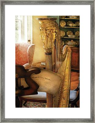 Music - Harp - The Harp Framed Print by Mike Savad
