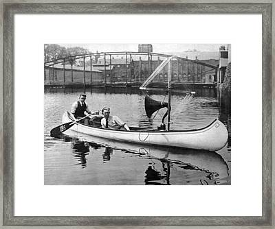 Music In A Canoe Framed Print by Underwood Archives