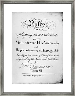 Music Instruction Framed Print by Granger