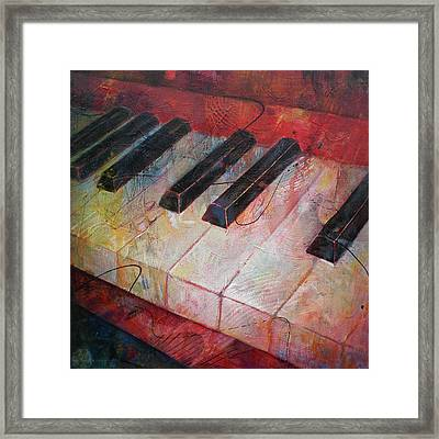 Music Is The Key - Painting Of A Keyboard Framed Print by Susanne Clark