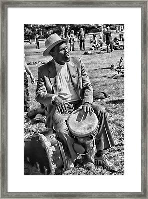 Music Man On Hippie Hill By Diana Sainz Framed Print by Diana Sainz