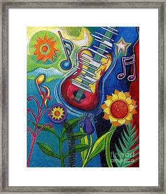 Music On Flowers Framed Print