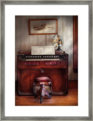 Music - Organist - My Grandmothers Organ Framed Print by Mike Savad