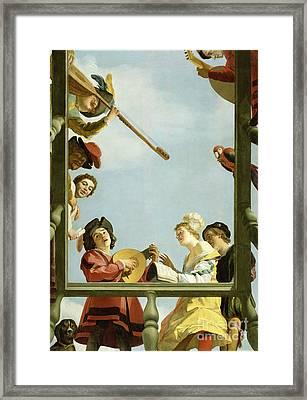 Musical Group On A Balcony 1622 Framed Print