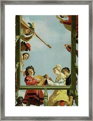Musical Group On A Balcony Gerrit Van Honthorst Framed Print