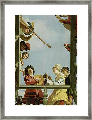 Musical Group On A Balcony Framed Print by Gerrit van Honthorst