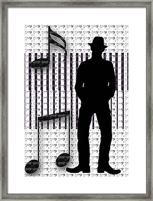 Musical Man Silhouette Framed Print by Susan Leggett