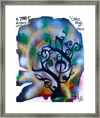 Musical Tree Blue Framed Print by Tony B Conscious