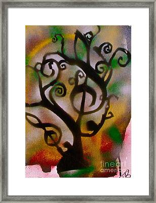 Musical Tree Golden Framed Print by Tony B Conscious