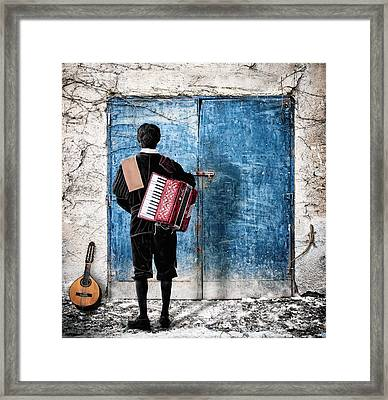 Musician At The Door Framed Print by Nermin Smajic