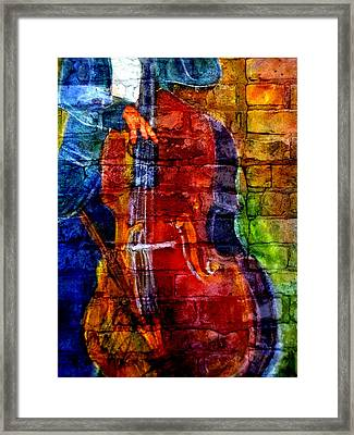 Musician Bass And Brick Framed Print