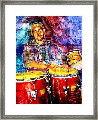 Musician Congas And Brick Framed Print