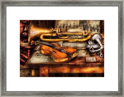 Musician - Horn - Two Horns And A Violin Framed Print by Mike Savad