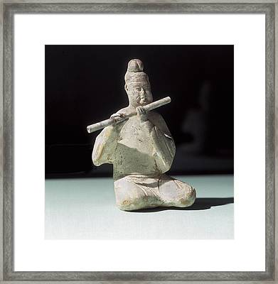 Musician Playing The Dizi. 618 - 907 Framed Print by Everett