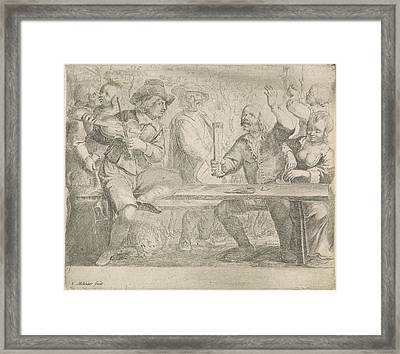 Musicians And Drink In A Tavern, Jan Miense Molenaer Framed Print by Jan Miense Molenaer