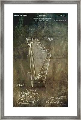 Musician's Harp Patent Framed Print by Dan Sproul
